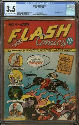 Flash Comics #4 CGC 3.5 OW/W feat. Hawkman DC Comics 1940