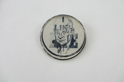 Eisenhower Picture Flasher-I Like Ike-Different Variety-Silver Metal Rim & Back