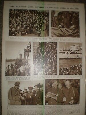 Photo article WWII repatriated prisoners of war arrive Leith 1943 ref AO