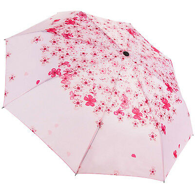 Travel Folding Compact Umbrella Windproof Sun Rain Women Umbrella Flowers Pink