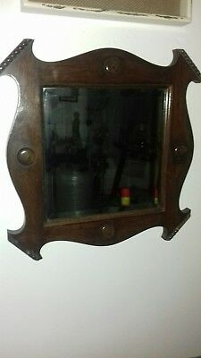 Great Arts and Crafts Wood Mirror with Bevelled Mirror  !! Quality! !