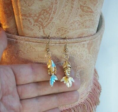 Old Vintage Chinese Gold Plated Enamel Articulated Fish Drop Earrings Pierced