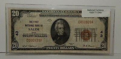 1929 - The First National Bank Of Salem, Oh-$20 Natl Currency - T1 - #43 - #700Z