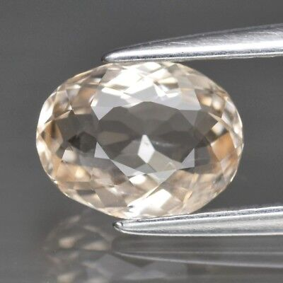 Top! VVS 1.03ct 7.8x6mm Oval Natural Unheated Light Peach Morganite