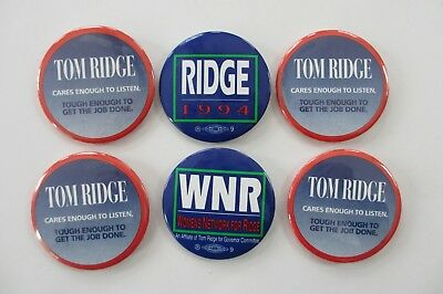 Group of 6 Tom Ridge 1994 Political Buttons-3 Different Varieties-Penna Governor