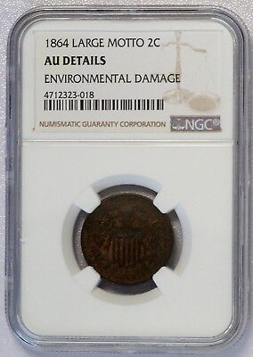 1864 Large Motto Two Cent (NGC AU Almost Uncirculated Details) US Coin A7403