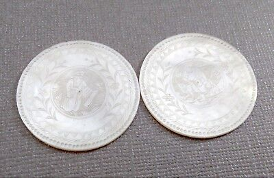 Two Vintage Finely Carved Mother of Pearl Chinese Gaming Tokens Counters -35 mm