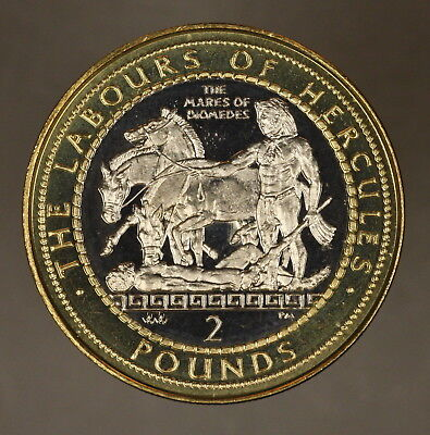 1999 Gibraltar 2 Pounds Hercules & Mares of Diomedes Unc** FREE U.S. SHIPPING **