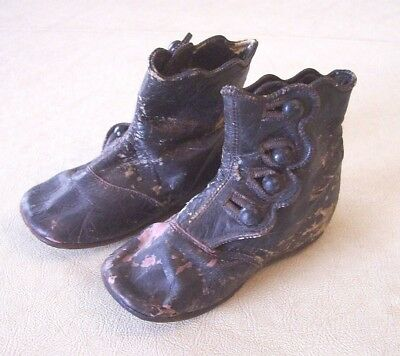 Antique Victorian Leather Side Button Baby Infant Child Doll Shoes Vintage Old