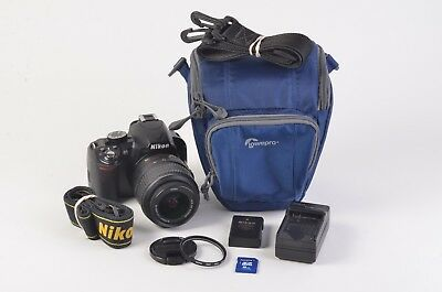 EXC++ NIKON D3100 14.2MP DIGITAL SLR CAMERA w/18-55mm VR, UV, CASE++ 8859 ACTS
