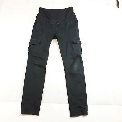 Ripe Maternity Womens Black Cargo Long Pants Over Belly Size Small