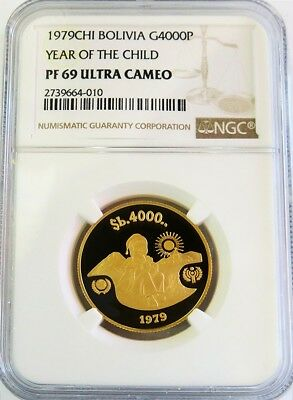 1979 Gold Bolivia 17.17 Gram 4000 Pesos Year Of The Child Ngc Proof 69 Ultra Cam