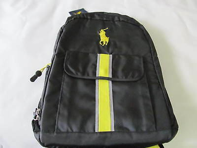 862a3fc483c6 Nwt Polo Ralph Lauren Tech Ripstop Backpack Ruck Sack Black Citron-Yellow