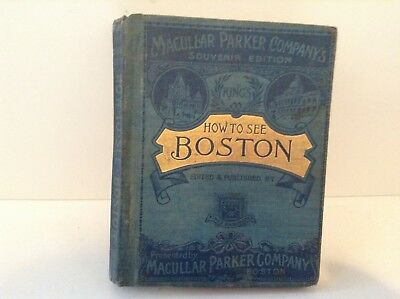 1895 Boston Guidebook, Foldout Map, Many Photos, Moses King, Trustworthy, MA