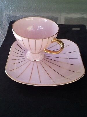 """Vintage Cup&saucer AustralianBy """"rembrant Deco Fine ChinaPink Gold Stripes Vgc"""