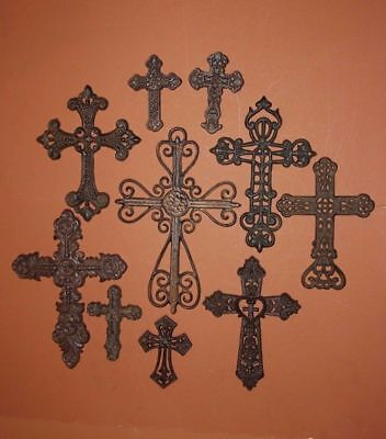 (10) Rustic Country Western Christian Cross Wall Decor, Cast Iron Crosses,10 Set