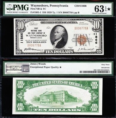 Amazing *RARE* CHOICE UNC 1929 $10 WAYNESBORO, PA National Note! PMG 63 EPQ*!