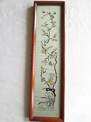 Vintage Antique Oriental Silk Embroidery Picture Chinese Japanese Mahogany Frame