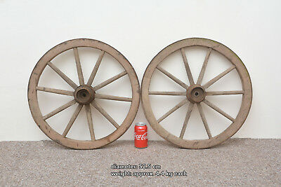 2x vintage old wooden cart wagon wheels wheel - 52.5 cm - FREE DELIVERY