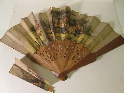 Vintage Antique Paper Hand Fan A/F Spares Repairs