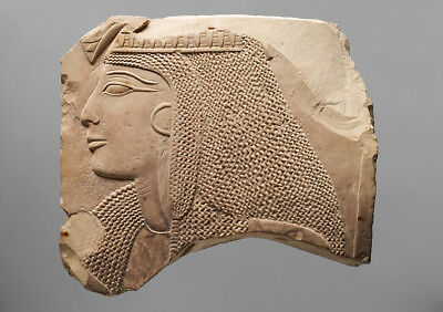 Egyptian Relief fragment head of a lady wall plaque art Sculpture 8.75""