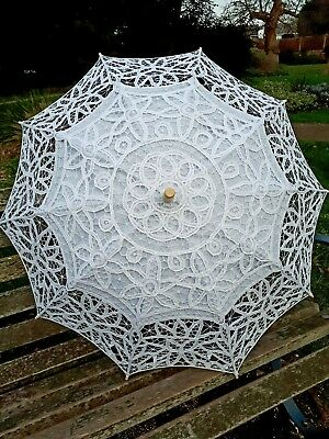 White Handmade Cotton Lace Wedding Bridal Prom Parasol Umbrella Wood Handle