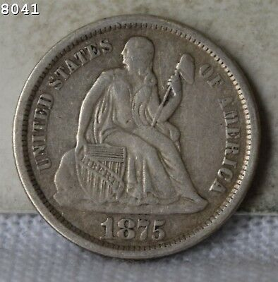 "1875-S ""Above Bow"" Liberty Seated Dime ""VF"" *Free S/H After 1st Item*"