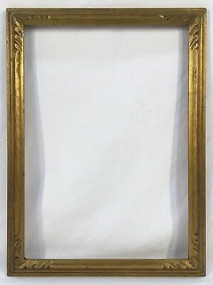 Vintage Early 20th C Arts & Crafts Hand Carved Gold Frame 9 5/8 x 13 5/8 Opening