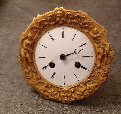 Antique French Brass Clock Case Barrel Type Fancy Bezel And Dial Face 116mm Diam