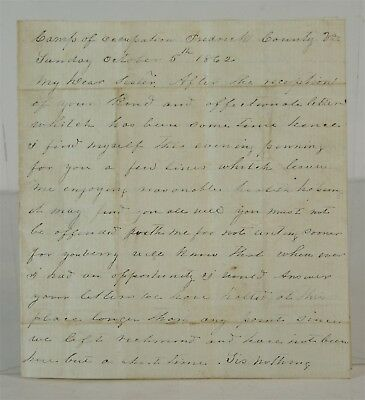 Original 1862 Confederate Civil War Soldiers Hand Written Letter To His Sister