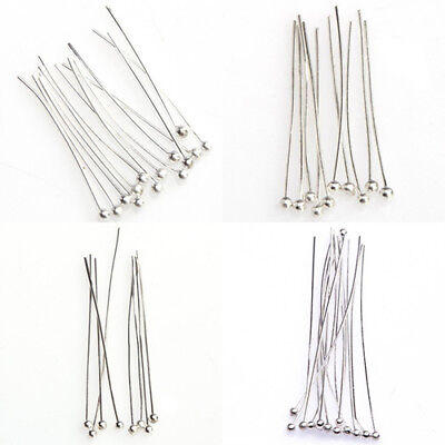 BL_ 100× Silver Tone Ball End Pins Jewelry Making Findings DIY Crafts Headpins