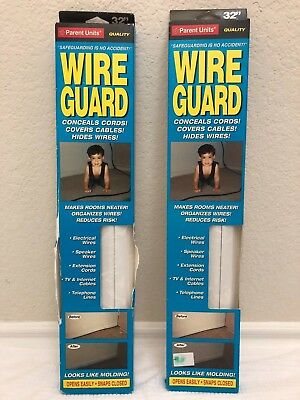 Baby Proofing Wire Guard Parent Units 32 inch Faux Moulding cord cover white 2pk