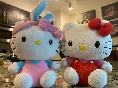 """2 TY Sanrio HELLO KITTY 2009 and 2013 Soft Plush Stuffed Doll Toy 8"""""""