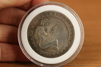 foreign country Copper plate-Silver belle girl collectable coins valuable