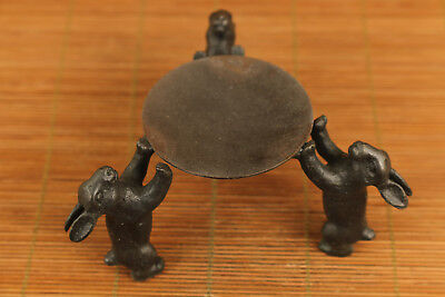 Rare chinese old bronze hand carved rabbit statue opil lamp candle stick