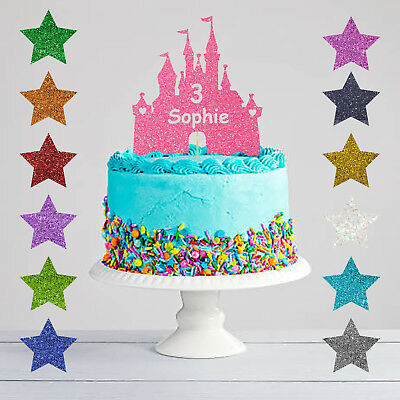 Personalised Birthday Princess Castle Glitter Cake Topper Any Name Any Age
