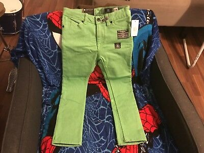 Volcom Skinny Jeans Boys size 7 green, New With Tags