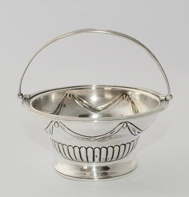1798 George III Solid Sterling Silver Sugar Basin Swags/Half Fluted Swing Handle