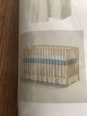 "Infant Baby IKEA white Len Pleated Crib Skirt 28X52"" Nursery Room"