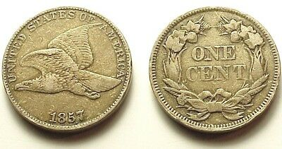 X/f 1857 Flying Eagle Cent-Strong Details+Attractive Color+Eye Appeal! Free Ship
