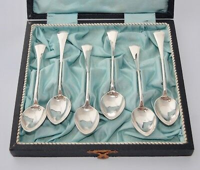94g Rare Boxed Set of Czech Silver Grapefruit Spoons / Teaspoons 13.2cm