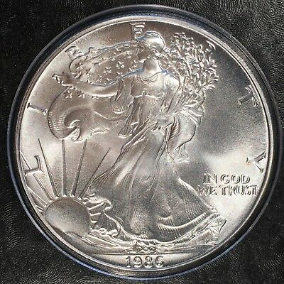 1986 Uncirculated American Silver Eagle US Mint 1oz Pure Silver in Capsule #A