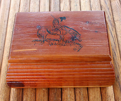 Vintage Cedar Trinket/Jewelry Box End Of Trail Indian On Horse Hand Crafted