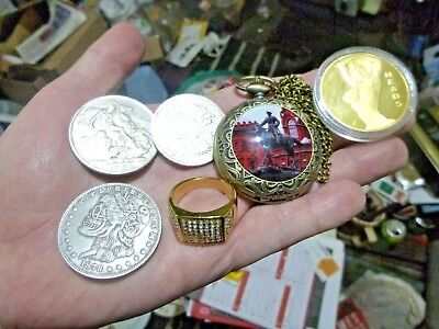 House Clearance Job Lot Collectables Jewelled Ring Pocket Watch Coins  Free Post