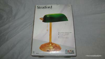 NEW STRATFORD Solid Brass BANKERS LAMP Classic Green GLASS SHADE 14""