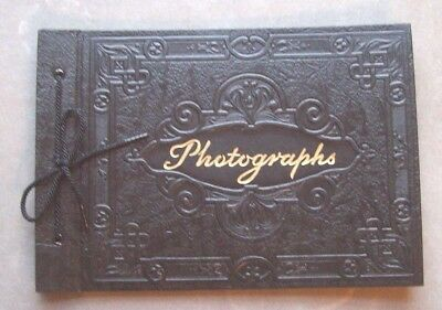 "NOS Vintage Photograph Album No. 400 Embossed Black Empty w/ 12 - 7"" x 10"" Pages"