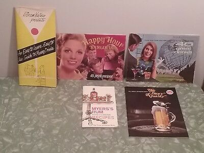 Vintage mixed drinks books lot recipes alcohol beer rum cocktail bar guide