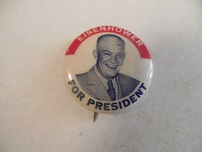 Presidential Pin Back Campaign Button Dwight Eisenhower For President 1950's