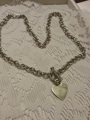 Sterling Silver 925 Heart Toggle Necklace 19in No Scrap 39g