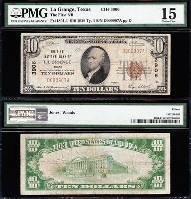 VERY NICE *RARE* Choice Fine 1929 $10 LA GRANGE, TX National Banknote! PMG 15!